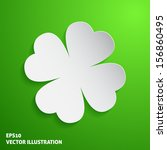Paper Clover Icon On Green...