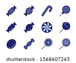 candy vector icon set in glyph...