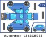 cut and glue paper mini car....   Shutterstock .eps vector #1568625385