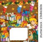 happy christmas frame   border  ... | Shutterstock . vector #156863606