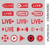 live broadcasting icons set.... | Shutterstock .eps vector #1568646082