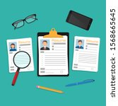 resumes. cv application...   Shutterstock .eps vector #1568665645