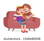happy cute kid girl reads book... | Shutterstock .eps vector #1568680048