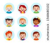 happy cute kids boy and girl... | Shutterstock .eps vector #1568680102
