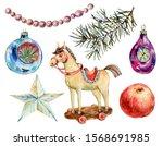 watercolor vintage christmas... | Shutterstock . vector #1568691985
