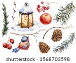 handpainted watercolor woodland ... | Shutterstock . vector #1568703598