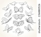 Set Of Hand Drawn Butterflies....
