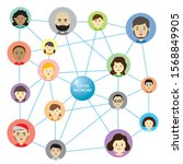 social network link many people ... | Shutterstock .eps vector #1568849905
