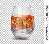 a glass with cognac  rum ... | Shutterstock .eps vector #1568880568