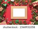 christmas photo card in frame... | Shutterstock . vector #1568931058
