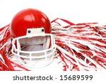 red football helmet and pom... | Shutterstock . vector #15689599