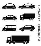 black isolated cars set on... | Shutterstock .eps vector #156896246