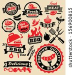 vector color barbecue grill... | Shutterstock .eps vector #156900815