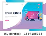 system update flat design with...