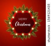 christmas background with fir... | Shutterstock .eps vector #1569121435