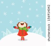 kid enjoying snow | Shutterstock .eps vector #156914042