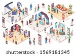 people at expo or business... | Shutterstock .eps vector #1569181345