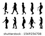 Silhouette People Walking Set...