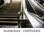 Closeup Mechanical Escalators...