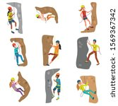 set of girls and boys alpinists ... | Shutterstock .eps vector #1569367342