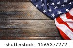 United States Flag On Wooden...