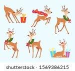 christmas deer. cute fairytale... | Shutterstock .eps vector #1569386215