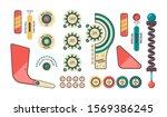 pinball elements. buttons coins ... | Shutterstock .eps vector #1569386245
