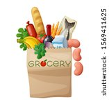 grocery bag isolated on white... | Shutterstock . vector #1569411625