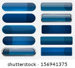 set of blank dark blue buttons... | Shutterstock .eps vector #156941375