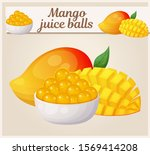 mango fruit and yellow juice... | Shutterstock .eps vector #1569414208