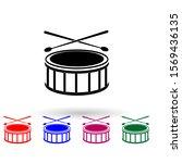 drum multi color icon. simple...