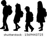 silhouette of a child with a... | Shutterstock . vector #1569443725