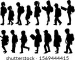 silhouette of a child with a... | Shutterstock . vector #1569444415