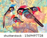 fairy birds family living in... | Shutterstock . vector #1569497728