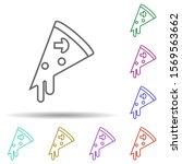 piece of pizza multi color icon....