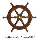 Wood Ship Wheel Isolated On...