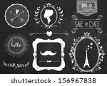 retro chalk elements and icons...   Shutterstock .eps vector #156967838