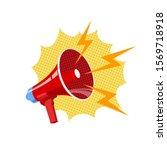 bullhorn  red megaphone vector... | Shutterstock .eps vector #1569718918