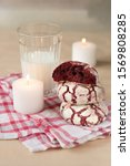 Three Red Velvet Cookies On A...