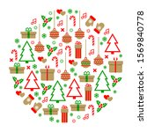 christmas wreath. holiday.... | Shutterstock .eps vector #1569840778