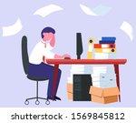 stress at work and deadline...   Shutterstock .eps vector #1569845812