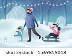 winter family fun holidays card.... | Shutterstock .eps vector #1569859018