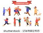 People At Christmas Fair Vector ...