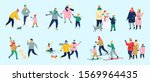 people spend time outdoor at... | Shutterstock .eps vector #1569964435