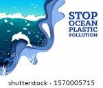 stop ocean plastic pollution... | Shutterstock .eps vector #1570005715