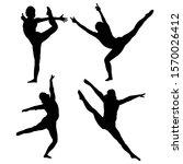 black silhouette dancing girl... | Shutterstock .eps vector #1570026412