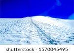 Footprints on snow mountain...