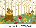 Squirrel Harvesting In Autumn ...