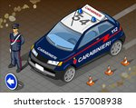 Detailed illustration of a Isometric Italian Carabinieri Police Car and Standing