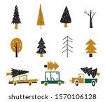 Hand Drawn Set Of Trees....